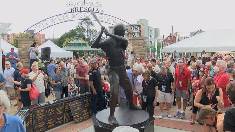 A statue of Rocky Colavito is unveiled at Tony Brush Park in Little Italy