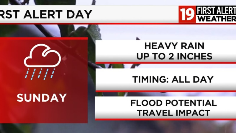 FIRST ALERT DAY:  Activated Sunday for heavy rain and flooding concerns