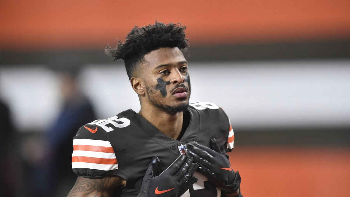Cleveland Browns wide receiver Rashard Higgins reacts before an NFL football game against the...