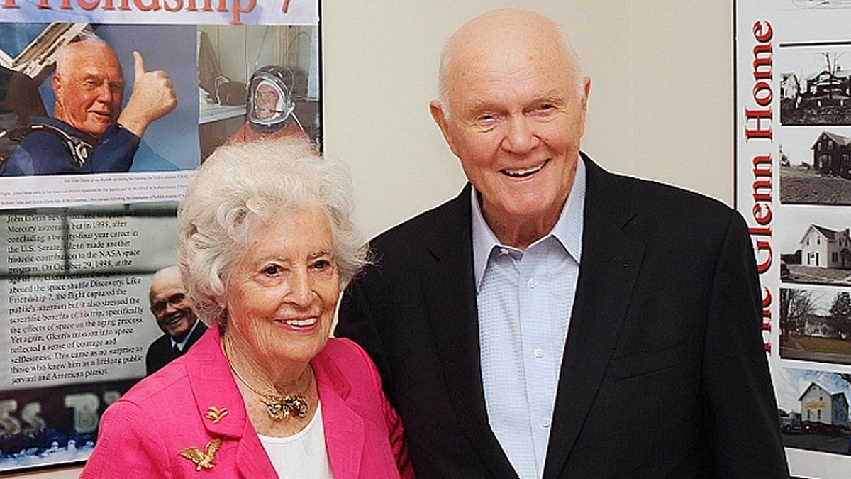 Annie Glenn and her husband John Glenn on his 91st birthday on July 18, 2012. John died at age...