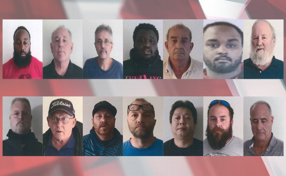 Arrests in Elyria (Left to right, row 1 first): Herbert Hagwood (45 of Lorain), David Emmot (59...