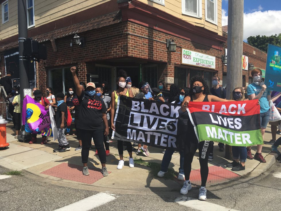 Women and men from all backgrounds showed up for the #DefendBlackWomen march in Cleveland