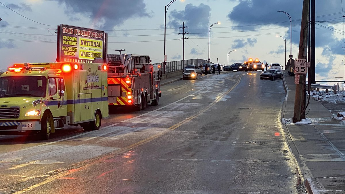Black ice caused an 11-car accident, shutting down East 152nd Street between Saranac and I-90