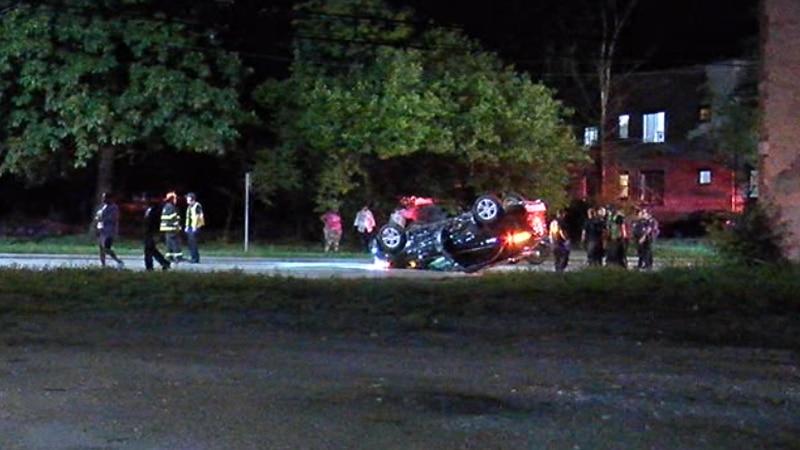 2 injured in rollover crash on Cleveland's East Side
