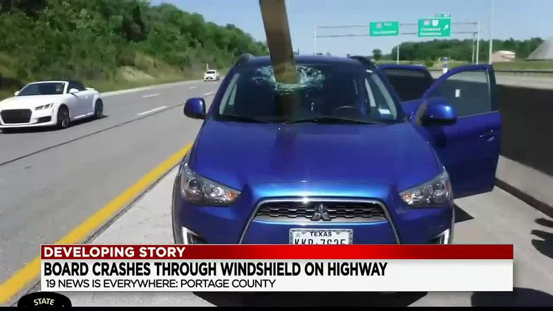Board smashes through car's windshield on I-80 in Portage County