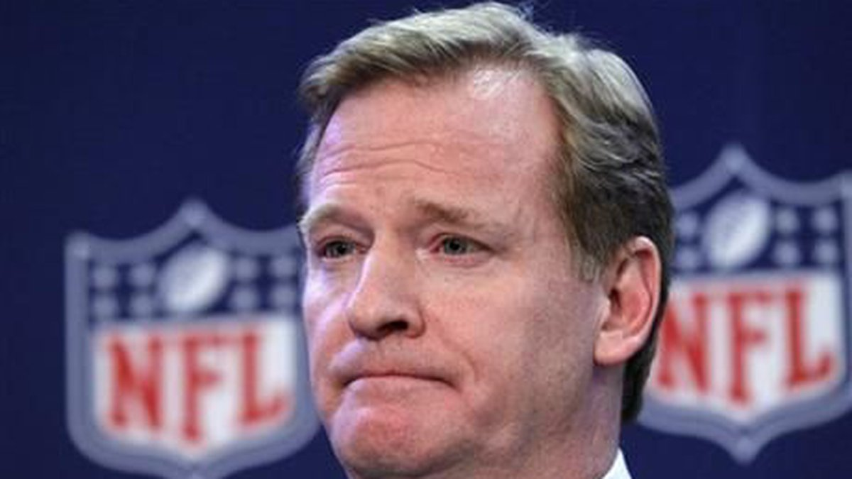 NFL Commissioner Roger Goodell listens to a question during a news conference after the NFL...