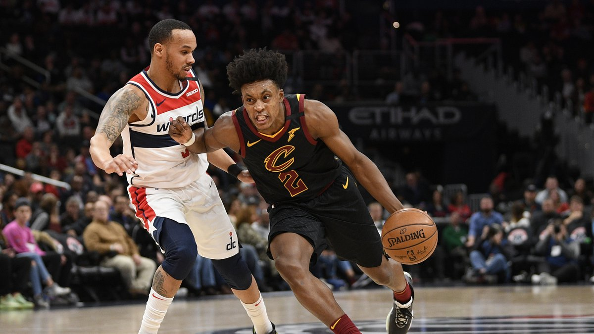 Cleveland Cavaliers guard Collin Sexton (2) dribbles the ball against Washington Wizards guard...