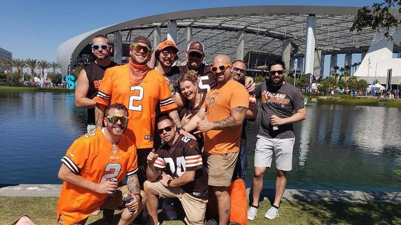 Actor Ed Ackerman lead a band of rebels, Northeast Ohio Browns fans, into SoFi Stadium in Los...