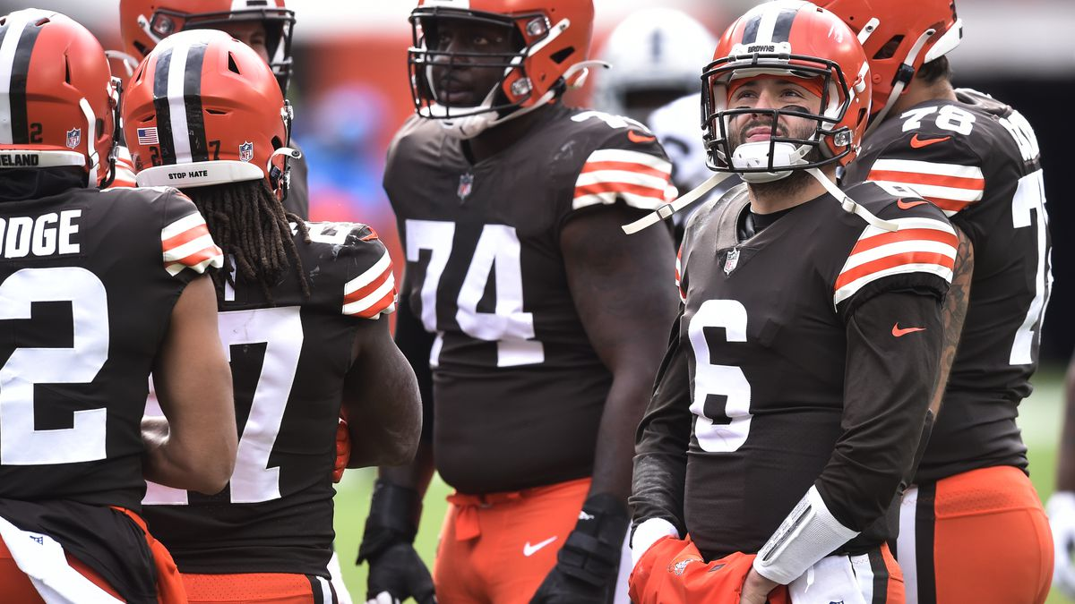 Cleveland Browns quarterback Baker Mayfield (6) takes a break on the sideline during the first...