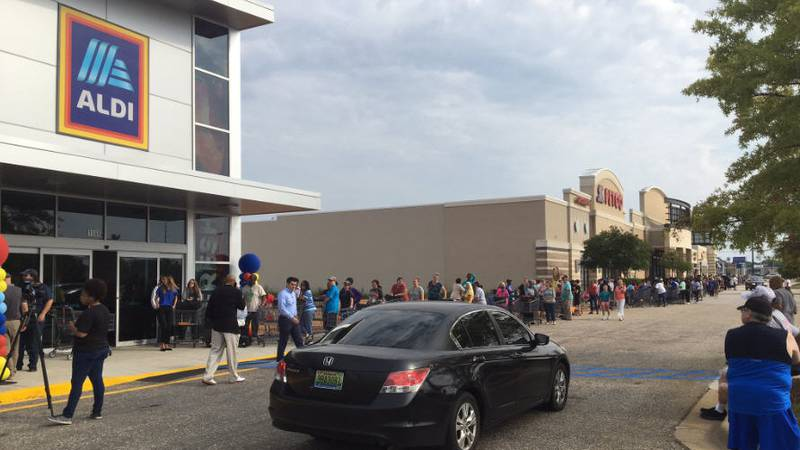 A new ALDI grocery store is opening in Montgomery, and there's a long line to get in.