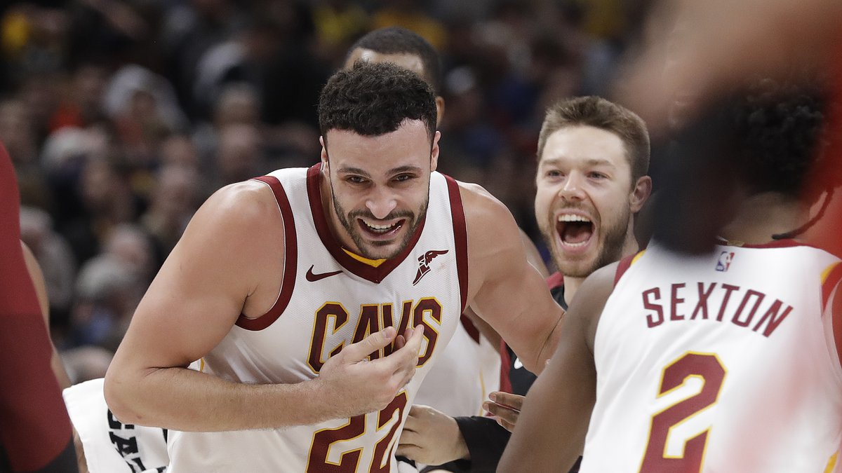 Cleveland Cavaliers' Larry Nance Jr. (22) reacts after tipping in the game winning shot as time...