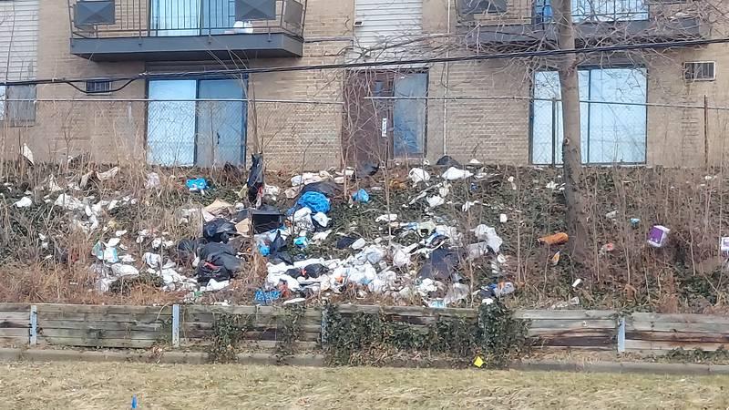 Trash  mounting up like a man made landfill