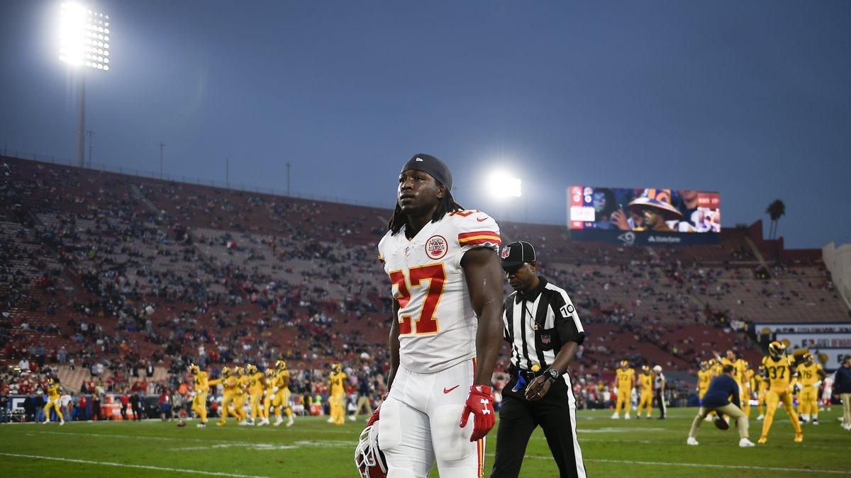 Kansas City Chiefs running back Kareem Hunt walks off the field prior to an NFL football game...