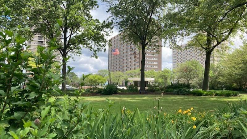 High-rise condominiums line Lake Erie in Lakewood.