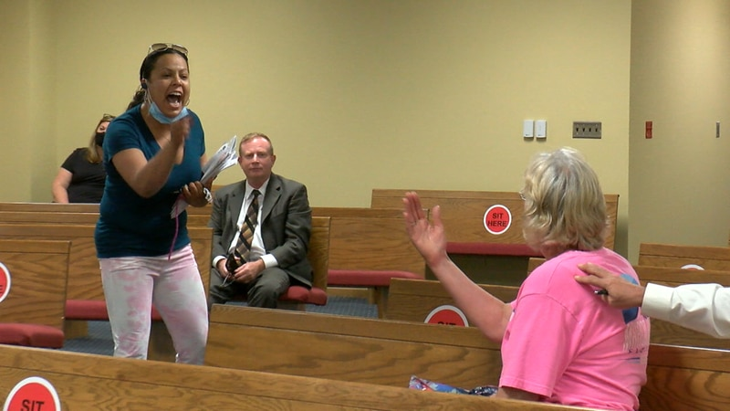 Amanda Ramos became increasingly angry as city officials discussed taking custody of her dogs....