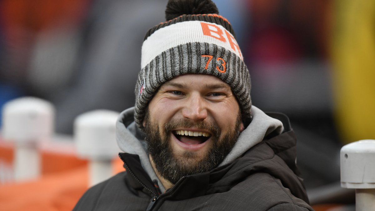 Cleveland Browns offensive tackle Joe Thomas sits on the bench during an NFL football game...