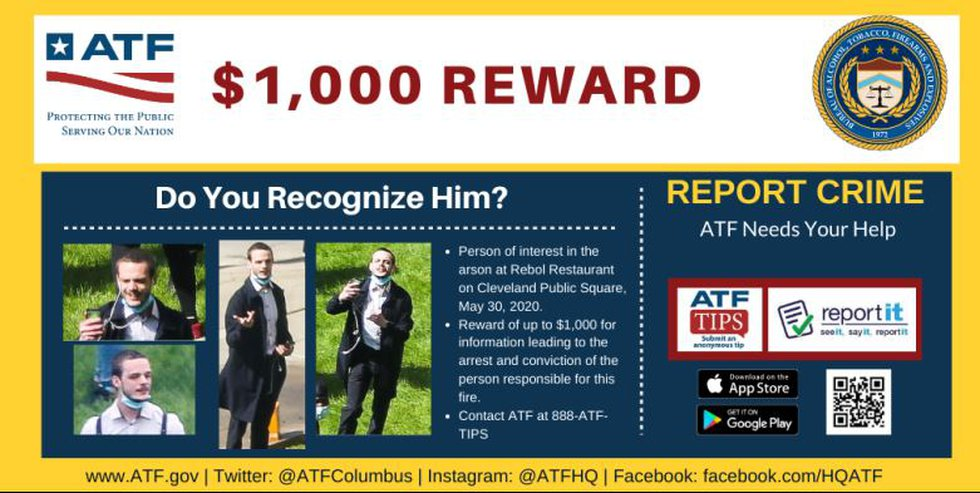 $1,000 reward for information leading to arrest of who set Rebol Restaurant on fire in May 30...