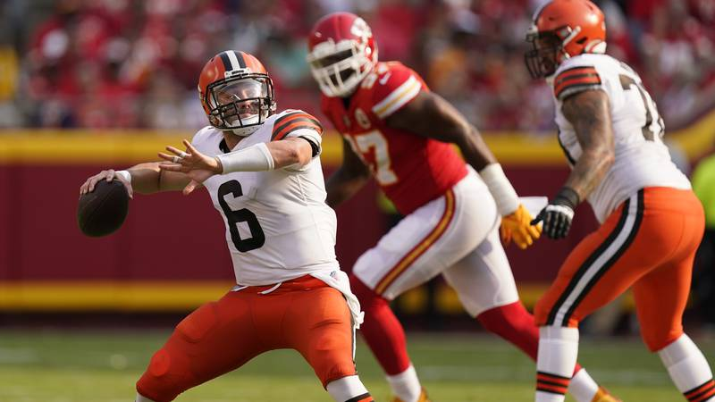 Cleveland Browns quarterback Baker Mayfield throws during the first half of an NFL football...