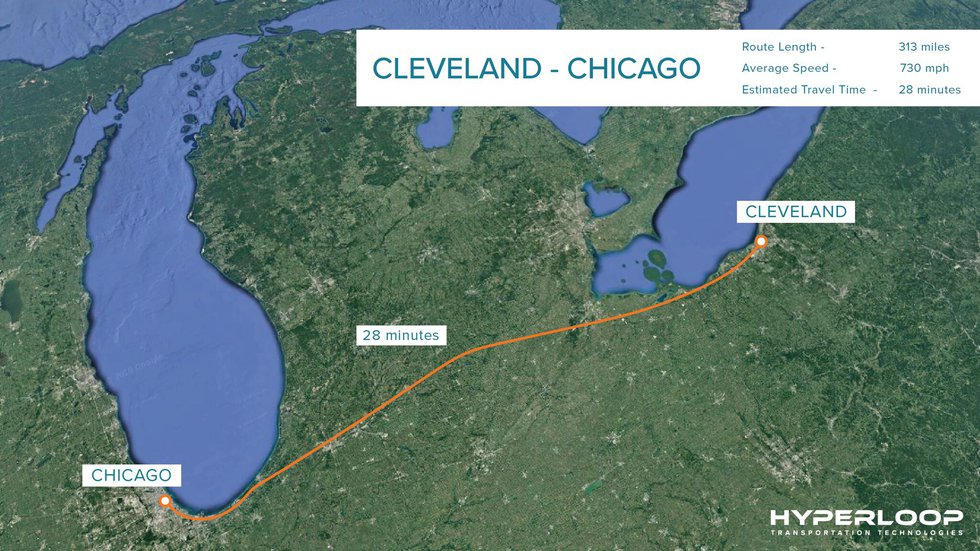 The 313 mile trip from Cleveland to Chicago would take less than 30 minutes.