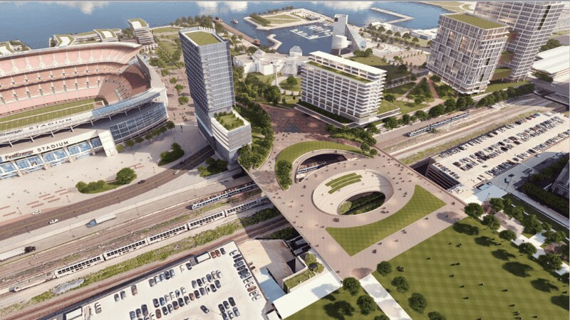 Jimmy and Dee Haslam, owners of the Cleveland Browns, are backing a plan to build a land bridge...