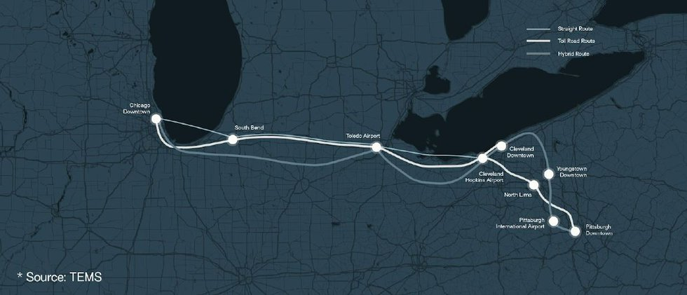 There are three possible routes the Hyperloop could take, with the potential for substations in...