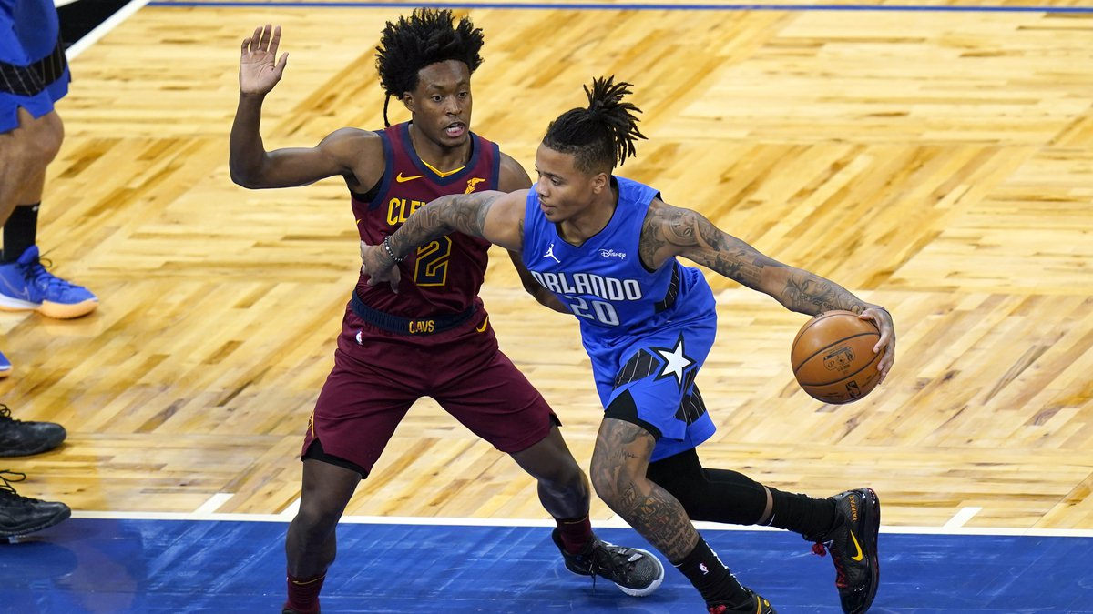 Orlando Magic guard Markelle Fultz (20) goes to the basket against Cleveland Cavaliers guard...