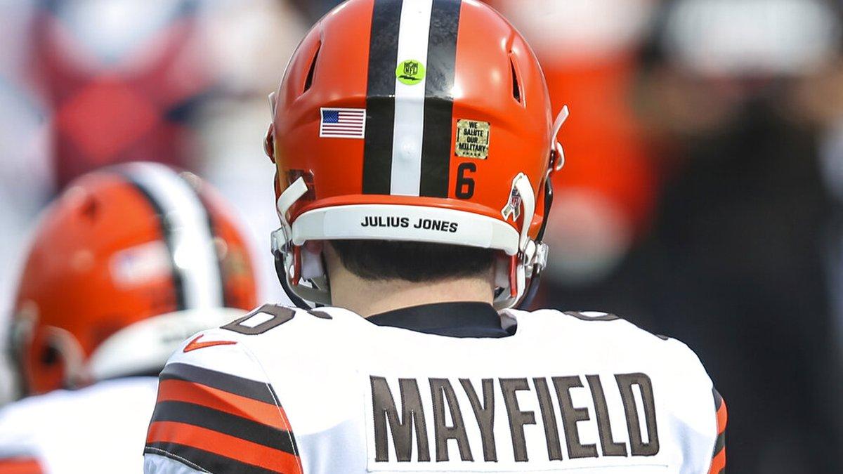 "Social Justice message ""Julius Jones"" on the helmet of Cleveland Browns quarterback Baker..."