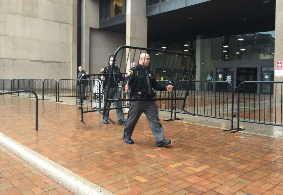 Barricades outside Cleveland Justice Center (WOIO)
