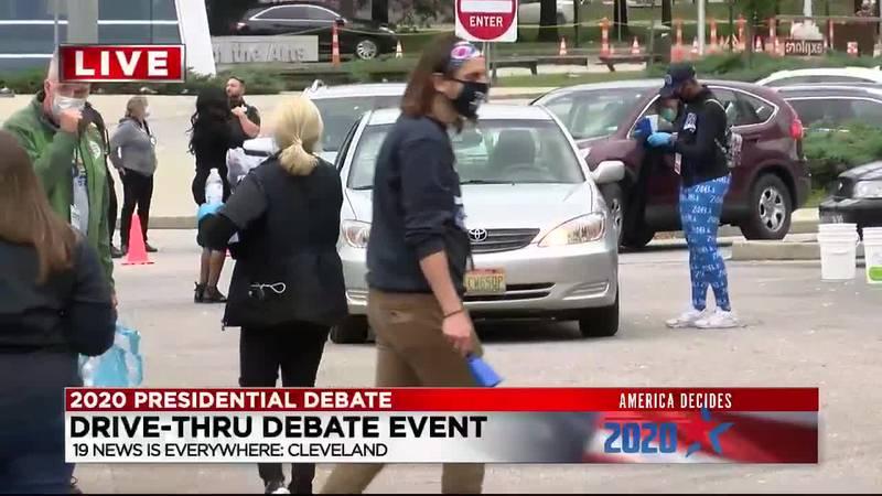 Biden supporters host drive-thru debate party in Cleveland