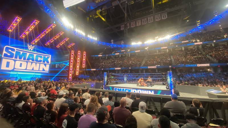 On Friday 12,000 people packed Rocket Mortgage Fieldhouse for the WWE Smackdown.
