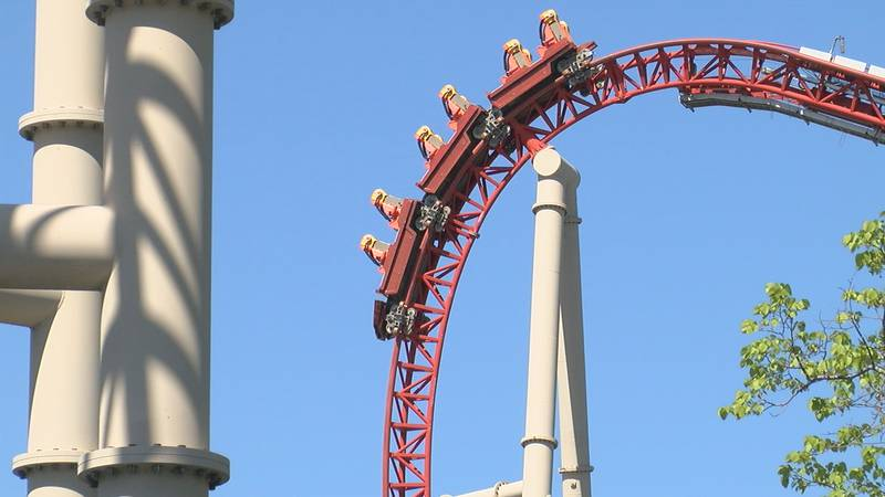 Ride operators test the popular Maverick rollercoaster at Cedar Point ahead of the park's...