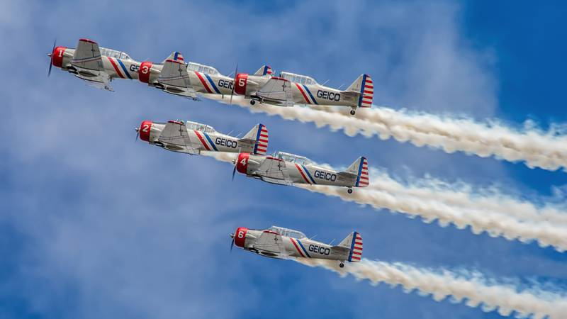 The GEICO Skytypers Air Show Team, the leading vintage airshow performance squadron, fly six...