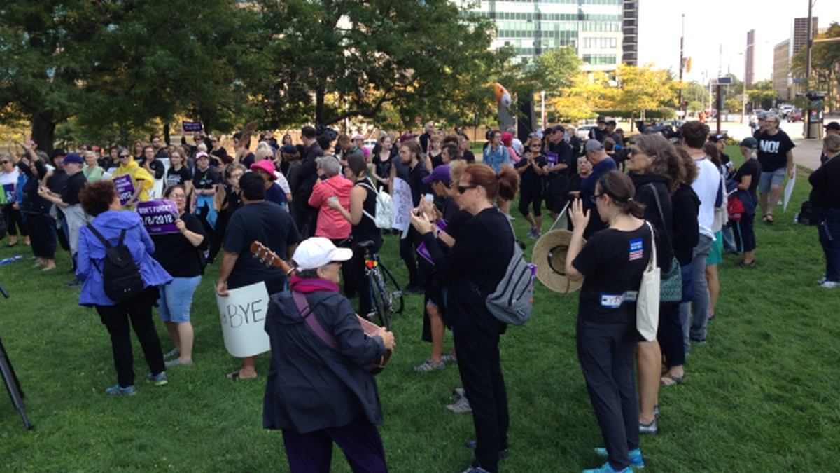 A anti-Kavanaugh rally was held in Cleveland on Saturday.