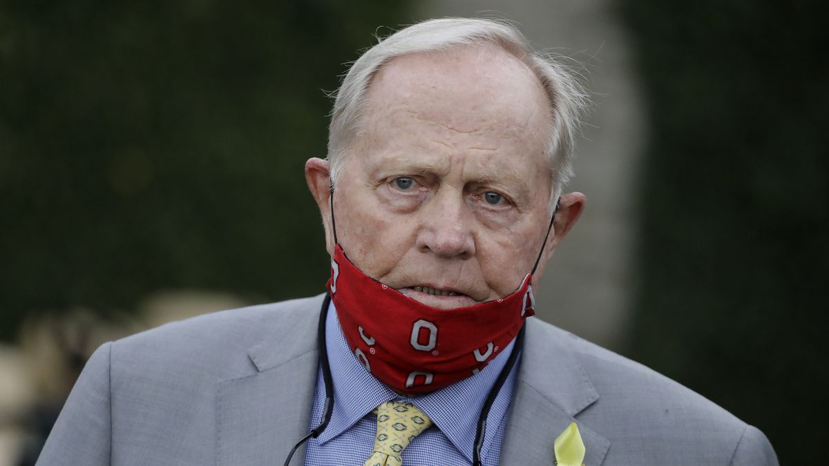 Jack Nicklaus watches during the final round of the Memorial golf tournament, Sunday, July 19,...
