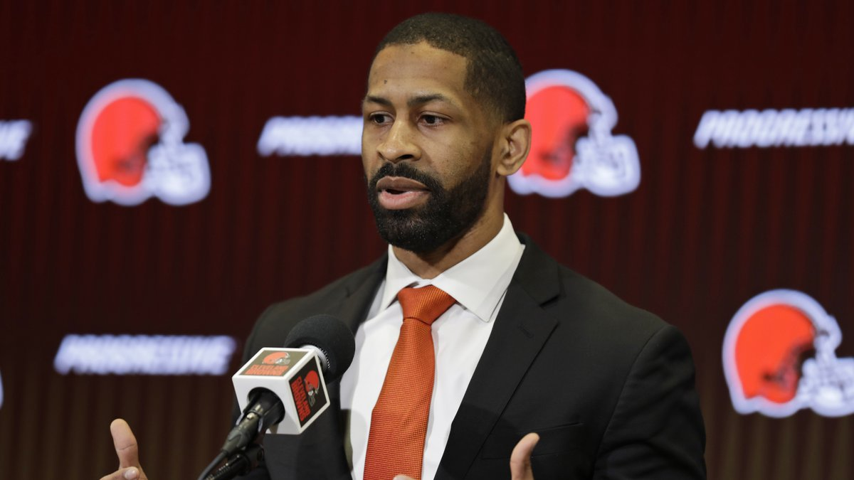 FILE - In this Feb. 5, 2020, file photo, Cleveland Browns general manager Andrew Berry speaks...