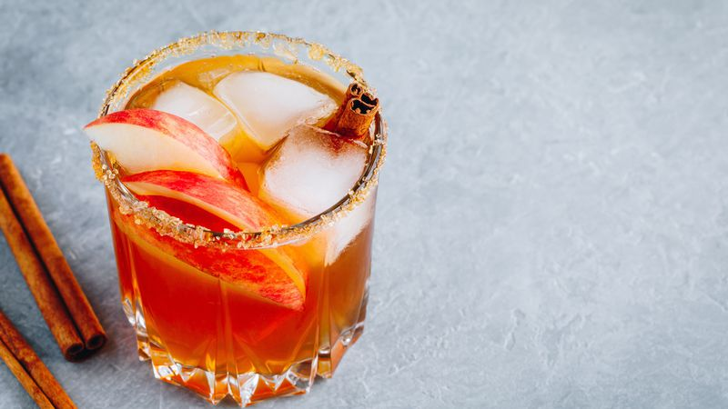 Apple cider hot toddy on ice