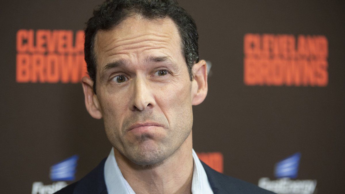 Paul DePodesta, chief strategy officer for the NFL Football Cleveland Browns listens to a...