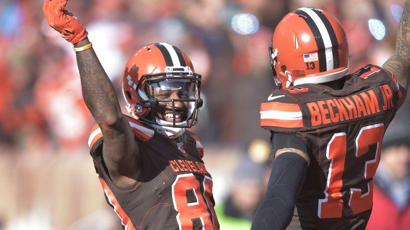 Cleveland Browns wide receiver Jarvis Landry (80) celebrates with Cleveland Browns wide...