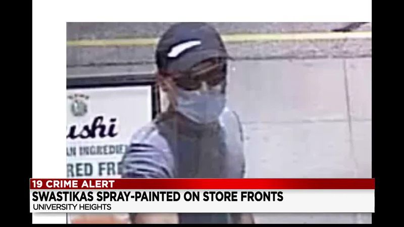University Heights Police release photo of man spray painting anti-Semitic symbols on store...