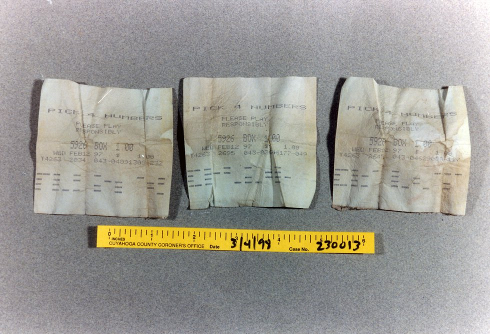 These lottery tickets were dated February 12, 1997. He played the same number, 5926, on all...