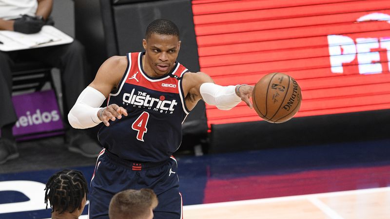Washington Wizards guard Russell Westbrook (4) passes during the first half of an NBA...
