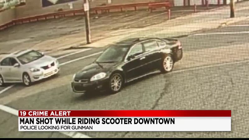 Police looking for vehicle involved in a shooting of a man riding on an e-scooter
