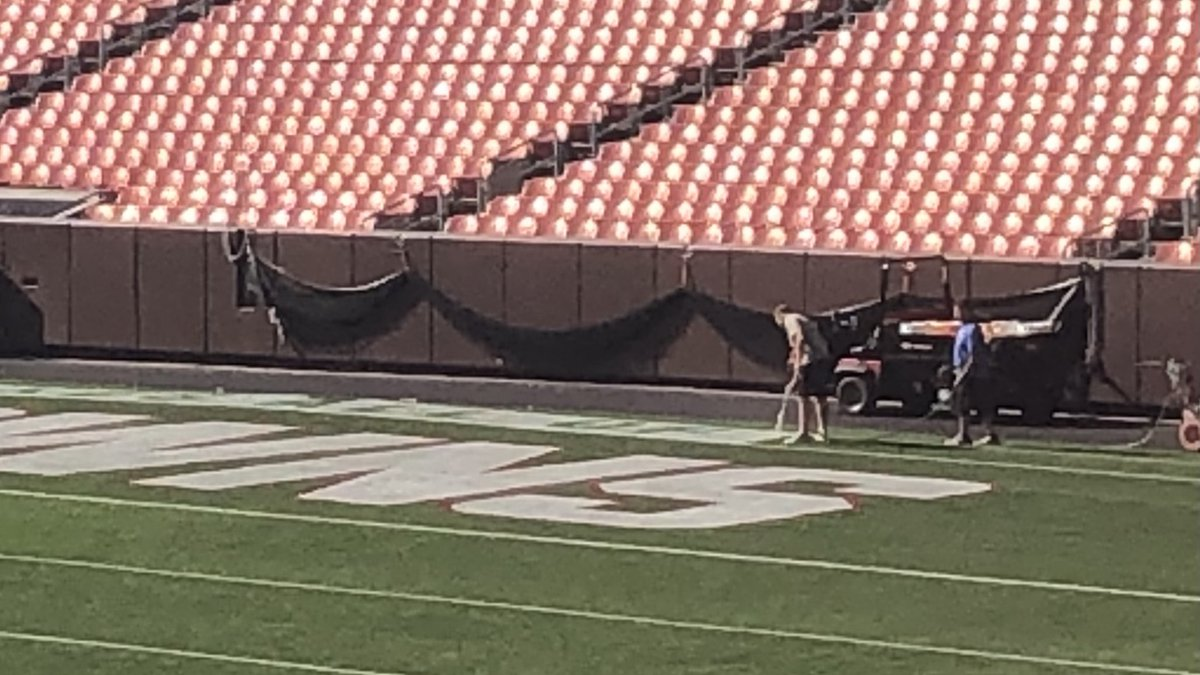 Crews put finishing touches on First Energy Stadium in preparation for Browns home opener on...