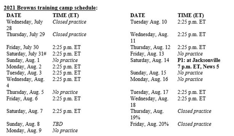Browns camp schedule