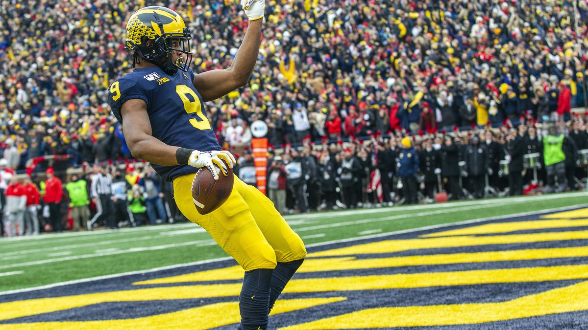 Michigan wide receiver Donovan Peoples-Jones (9) celebrates scoring a touchdown in the first...