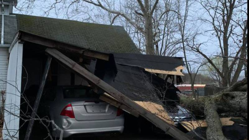 An Elyria home is damaged after trees fell on the garage during heavy winds.