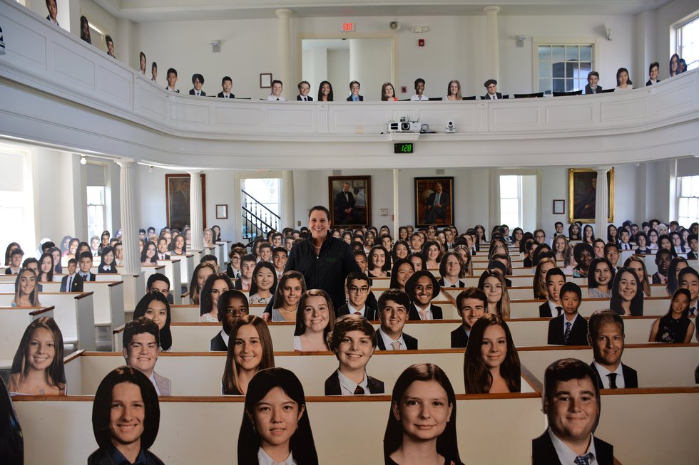 Cardboard cutouts at Western Reserve Academy
