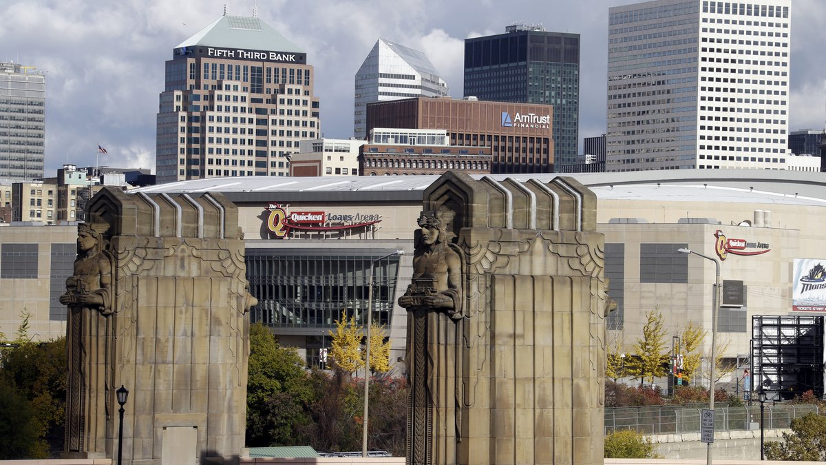 FILE - This Nov. 8, 2013, file photo shows Cleveland's skyline (AP Photo/Mark Duncan, File)