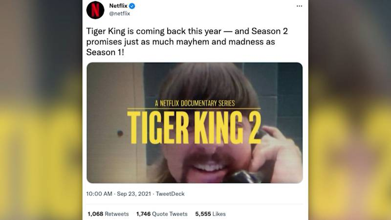 """Netflix announced """"Tiger King"""" is returning, saying on Twitter that """"season 2 promises just as..."""