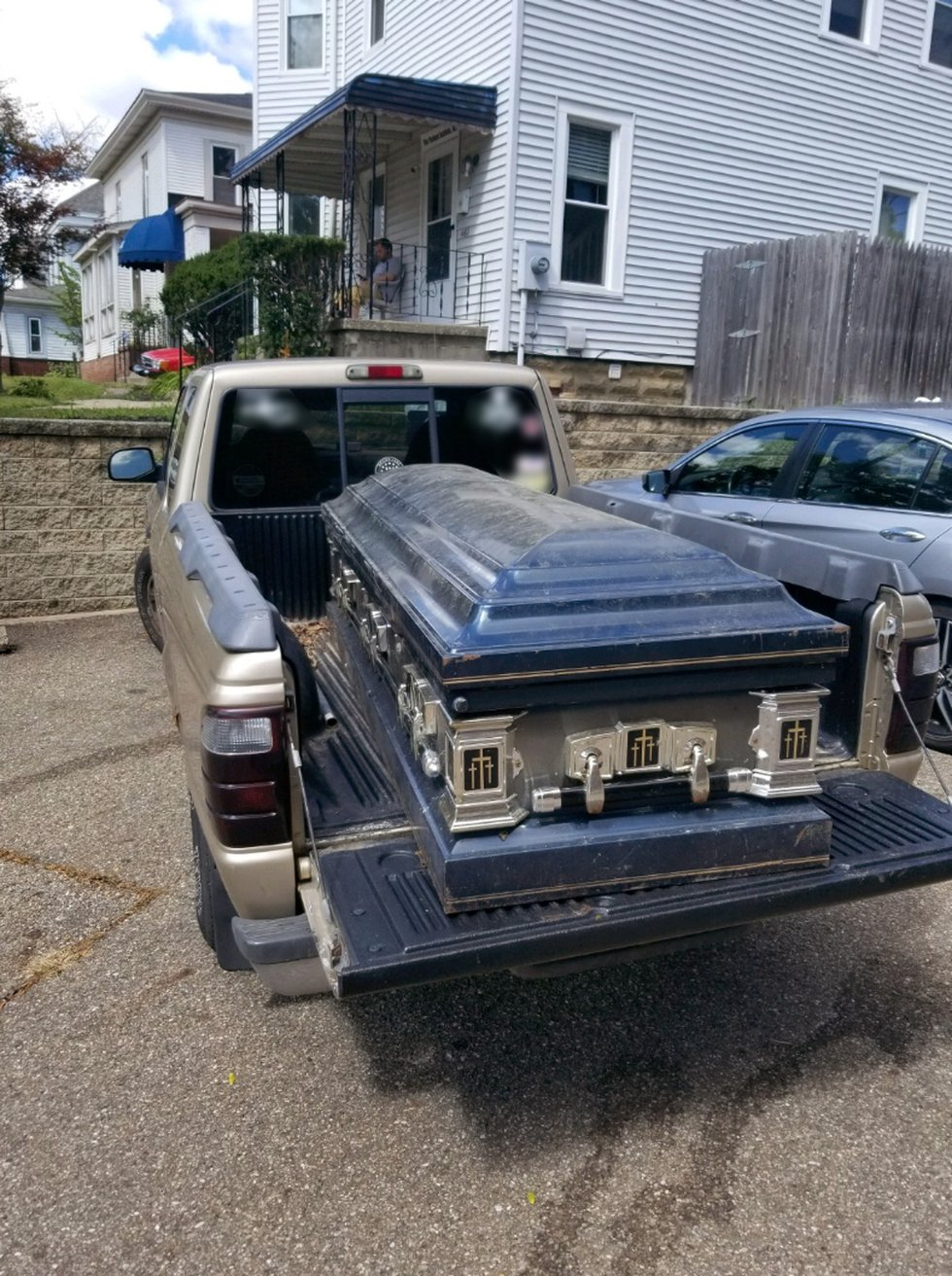 The coffin found in Akron was locked.